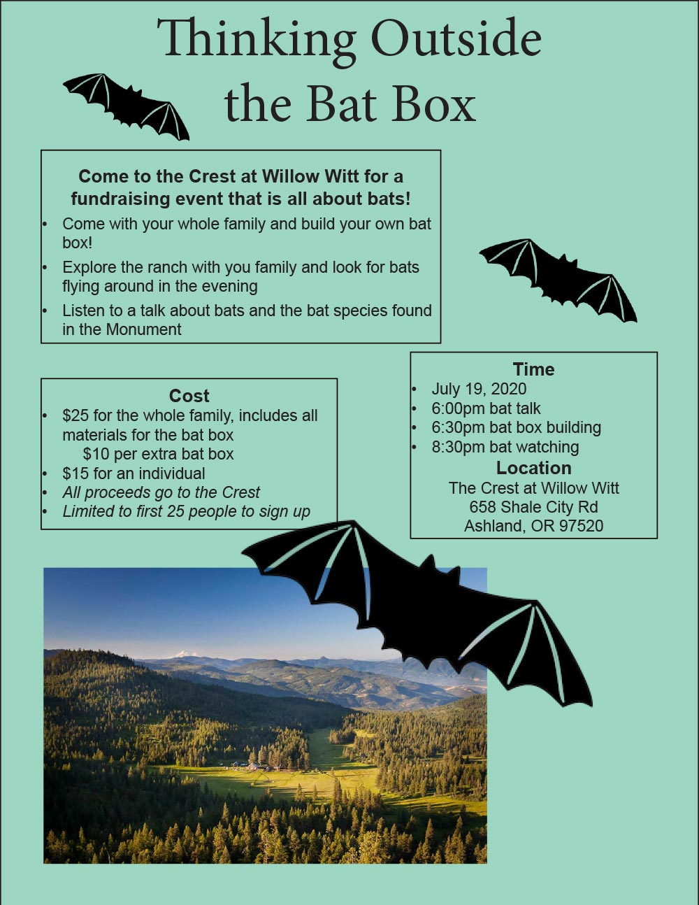 July 19, 2020 Fundraising Event - Thinking Outside the Bat Box