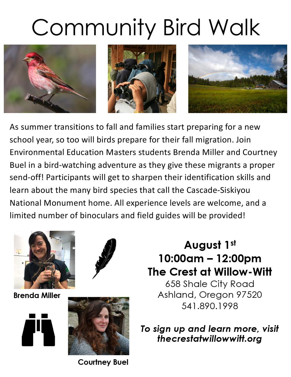 August 1, 2020 Community Bird Walk led by Environmental Education Masters students